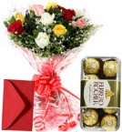 send Mix Roses Bouquet n Ferrero Rocher Chocolate delivery