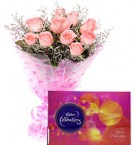 send Pink Roses Bouquet n Cadbury Celebrations Chocolate Box delivery