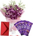 send Orchid Bouquet N Chocolate delivery