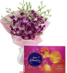 send Orchid Bouquet N Cadbury Celebrations Chocolate Box delivery