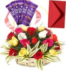 send Mix Roses Basket n Chocolates delivery