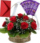 send Red Roses Basket N Chocolates delivery