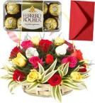 send Mix Roses Basket N 16 Ferrero Rocher Chocolate Gift delivery