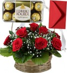 send Red Roses Basket n 16 Ferrero Rocher Chocolate Gift delivery
