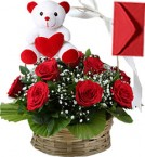 send Red Roses Basket n Teddy delivery