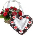 send 1Kg Heart Shape Black Forest n Red Roses Basket Gifts delivery