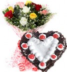 send 1Kg Heart Shape Black Forest n Red Roses Bouquet Gifts delivery