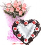 send 1Kg Heart Shape Black Forest Cake N Pink Roses Bouquet Gifts delivery