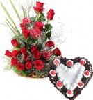 send 1Kg Heart Shape Black Forest n 20 Red Roses Basket Gifts delivery