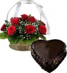 send 1Kg Heart Shape Chocolate Truffle Cake N Red Roses Basket delivery