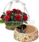 send Butterscotch Cake Half Kg N Red Roses Basket delivery