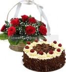 send Black Forest Cake Half Kg N Red Roses Basket delivery