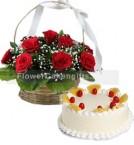 send Pineapple Cake Half Kg N Red Roses Basket delivery