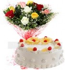 send 1Kg Pineapple Cake N Mix Roses Bouquet delivery