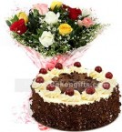 send 1Kg Black Forest Cake N Mix Roses Bouquet delivery