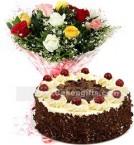 send 1Kg Black Forest Cake N Mix Roses Bouquet delivery