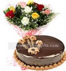 send 1Kg Chocolate Cake N Mix Roses Bouquet delivery