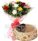 send 1Kg Butter scotch Cake N Mix Roses Bouquet delivery