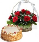 send 1Kg Butterscotch Cake N Red Roses Basket delivery