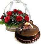 send 1Kg Chocolate Cake N Red Roses Basket delivery