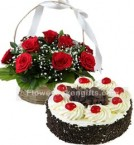 send 1Kg Balck Forest Cake N Red Roses Basket delivery