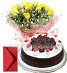 send 10 Yellow Roses with 500gms Black Forest Cake Combo Gifts delivery