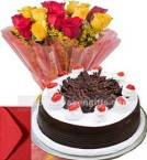 send Black Forest Cake Half Kg with Yellow Red Roses Bouquet n Card delivery