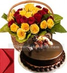 send Chocolate Cake Half Kg with Red Yellow Roses Basket delivery