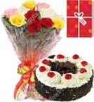 send 1KG Black Forest Cake Roses bouquet Greeting Card delivery