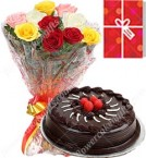 send 1Kg Chocolate Truffle Cake Roses bouquet Greeting Card delivery
