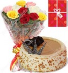 send 1Kg Butterscotch Cake 10 Mix Roses bouquet n Greeting Card delivery