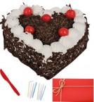 send  1 Kg  Heart Shape Black Forest Cake n Greeting Card  delivery