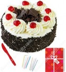 send Eggless Half Kg Black Forest Cake Candle Greeting Card delivery
