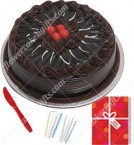 send Eggless Half Kg Chocolate Cake Candle Greeting Card delivery