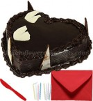 send Eggless 1kg Heart Shape Chocolate Cake Greeting Card delivery