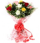 send Fresh Floral Greeting Bunch Of 10 Mix Roses delivery