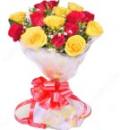 send 10 Red Yellow Roses Flower Bouquet delivery