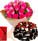send Pink Roses Bouquet n Black Forest Eggless Cake delivery