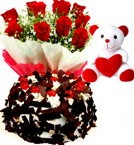 send Half Kg Black Forest Eggless Cake Red Roses Bouquet Teddy Bear delivery