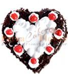 send Half Kg Heart Shape Black Forest Eggless Cake delivery