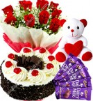 send Half Kg Black Forest Eggless Cake Red Roses Bouquet 5 Chocolates Teddy bear delivery