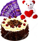 send Black Forest Eggless Cake Half Kg Chocolate n Teddy delivery