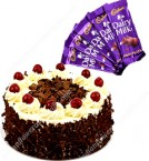 send Eggless Black Forest Cake Half Kg Chocolate n Card delivery