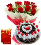 send Eggless 1KG Black Forest Cake Roses bouquet Greeting Card delivery