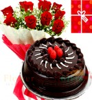 send Eggless 1Kg Chocolate Truffle Cake Roses bouquet Greeting Card delivery