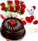 send Red Rose Bouquet and 500gms Chocolate Cake Teddy delivery