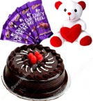 send Half Kg Chocolate Cake Teddy n chocolate delivery