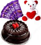 send Half Kg Chocolate Cake Teddy n chocolate delivery