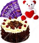 send Black Forest Cake Half Kg Chocolate n Teddy delivery