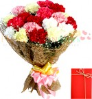 send Bouquet of 15 mix carnations delivery
